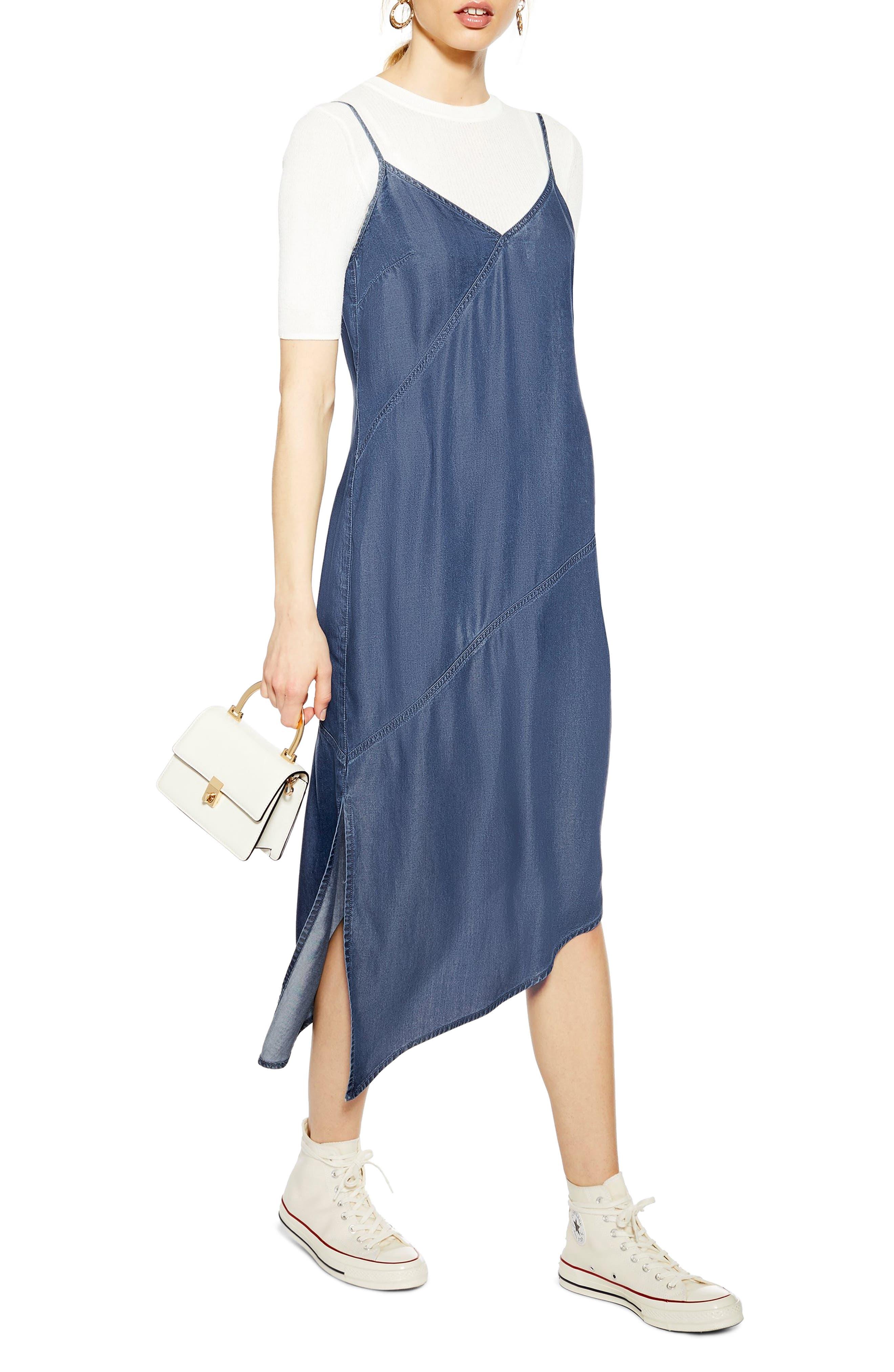 Topshop Asymmetrical Denim Midi Dress, US (fits like 0) - Blue