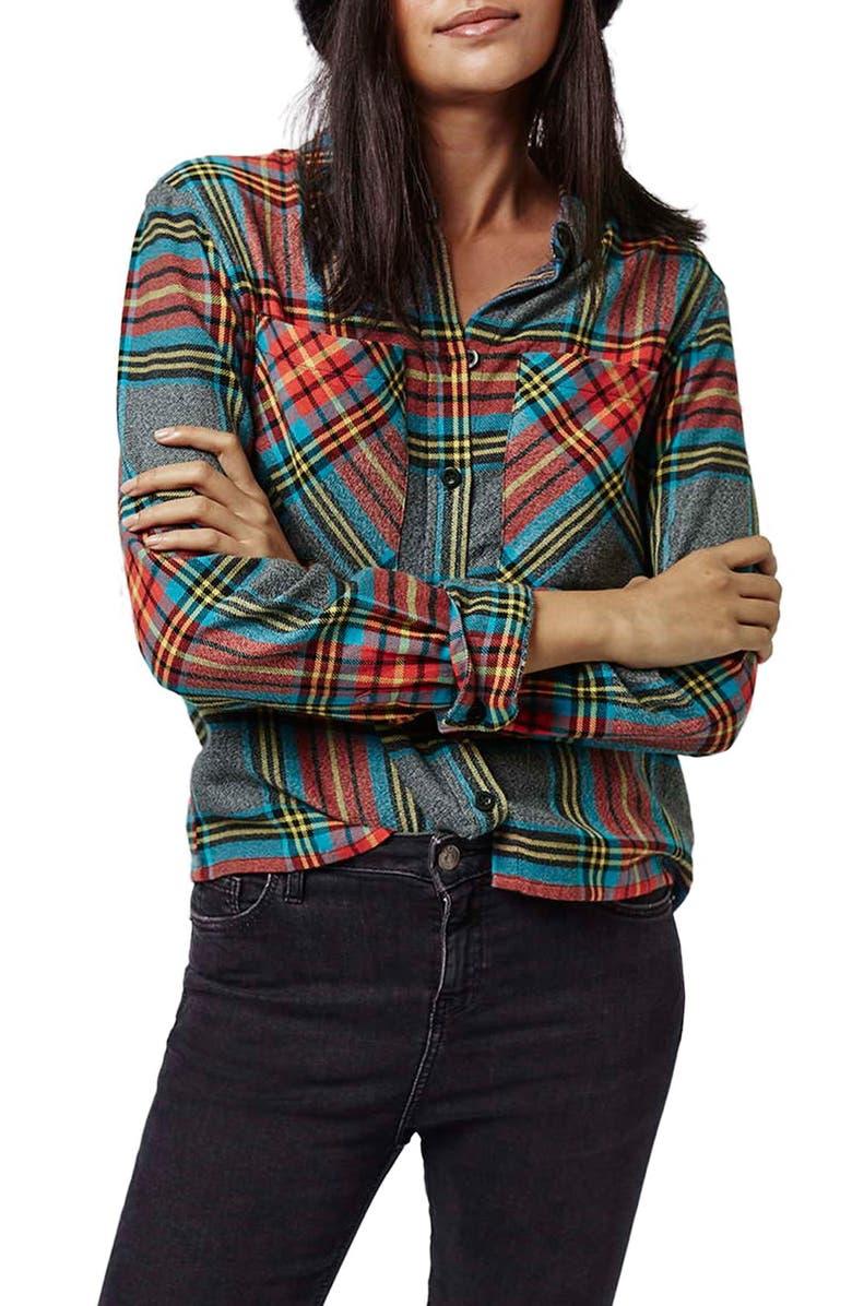 TOPSHOP Tartan Plaid Shirt, Main, color, 050