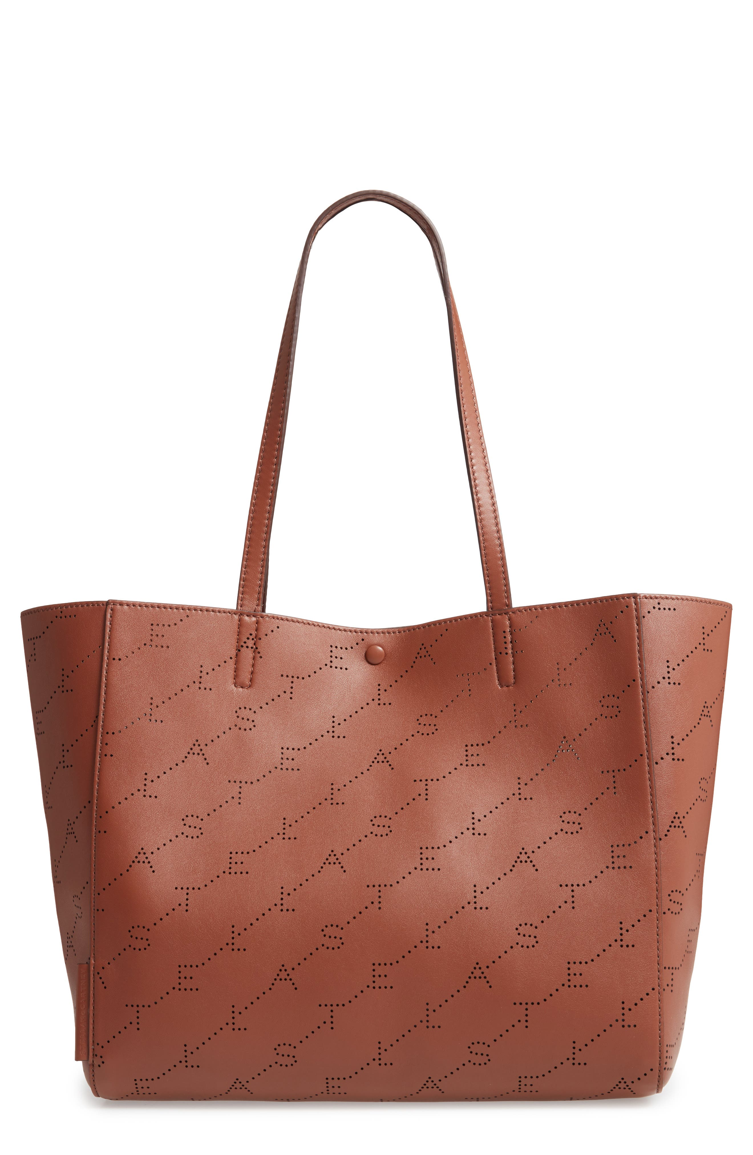 Stella Mccartney Small Logo Faux Leather Tote - Brown