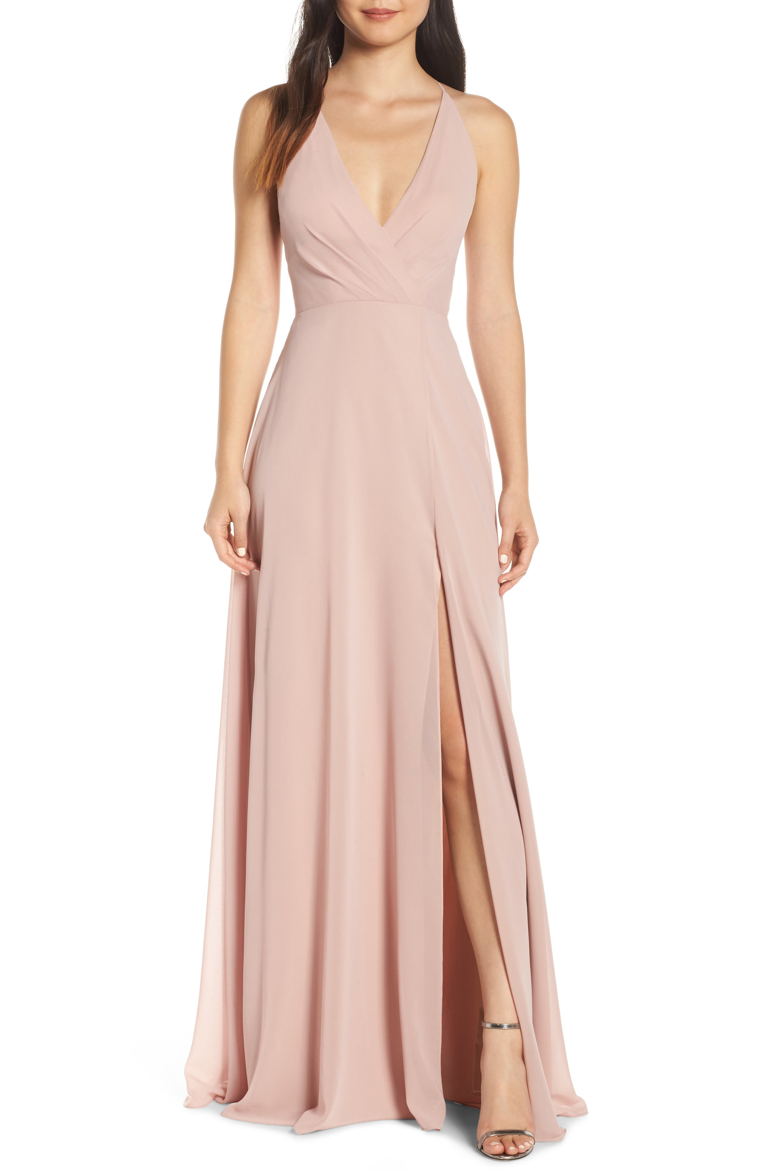 Jenny Yoo Bryce Surplice V-Neck Chiffon Evening Dress, 8 (similar to 1) - Pink