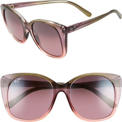 Maui Jim Mele 55Mm Polarizedplus2 Round Cat Eye Sunglasses - Mossy/ Blush/ Peach/ Maui Rose