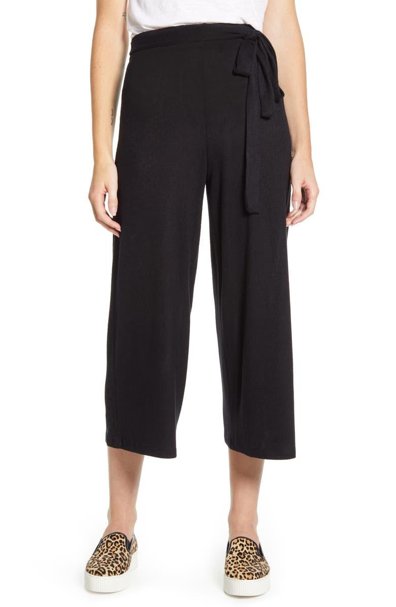 BOBEAU Doris Knit Crop Pants, Main, color, BLACK