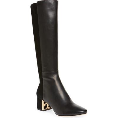 Tory Burch Gigi Logo Heel Tall Boot, Black