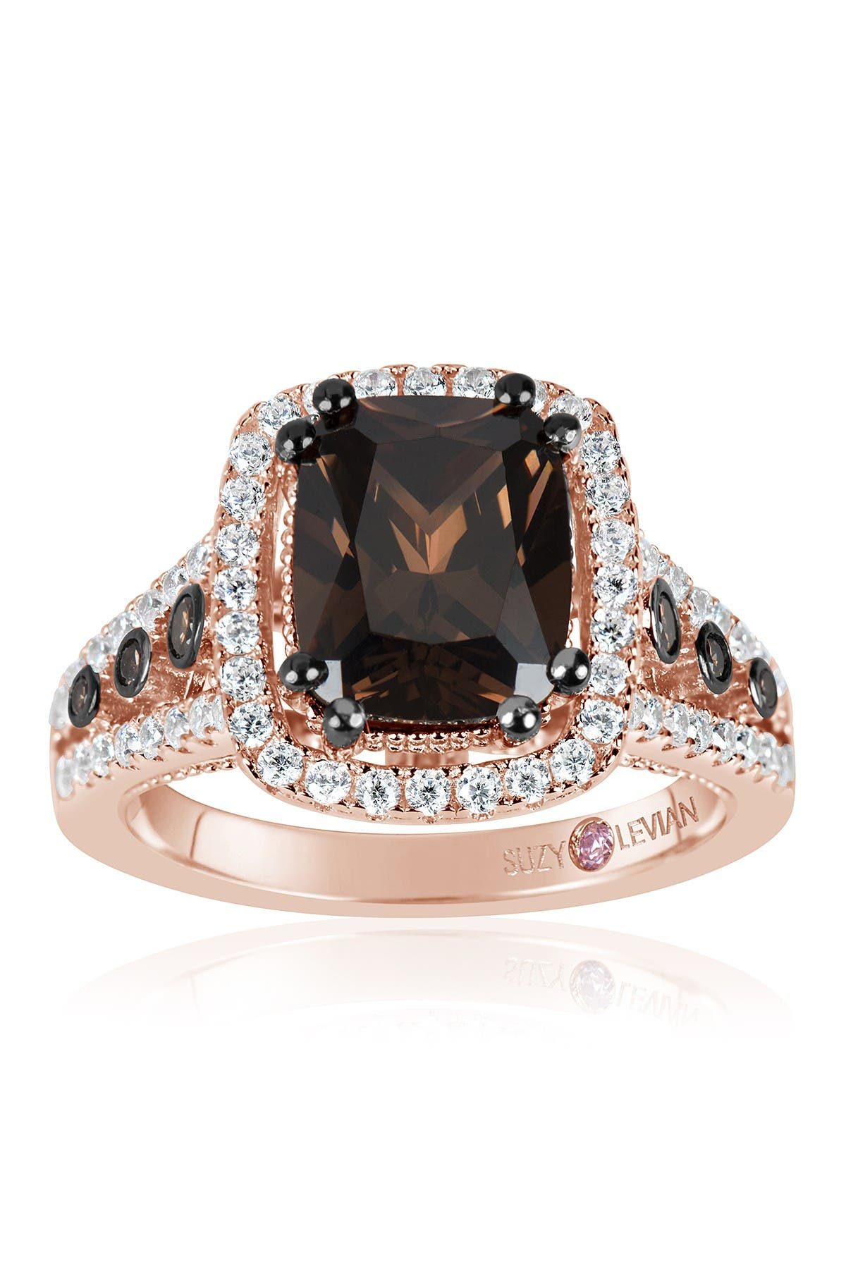 Image of Suzy Levian Two-Tone Chocolate & White CZ Ring