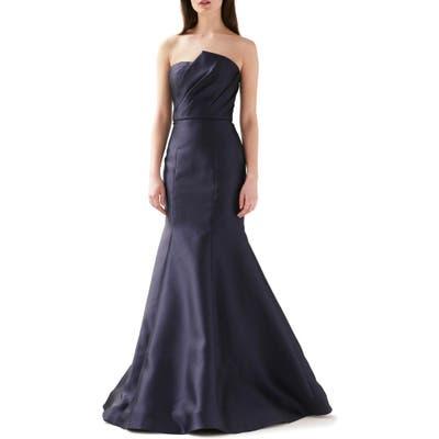 Ml Monique Lhuillier Strapless Mermaid Evening Gown, Blue