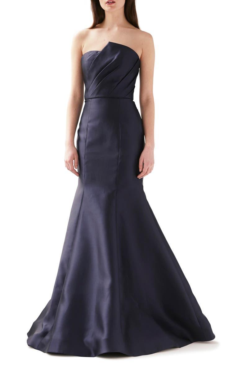 ML MONIQUE LHUILLIER Strapless Mermaid Evening Gown, Main, color, NAVY