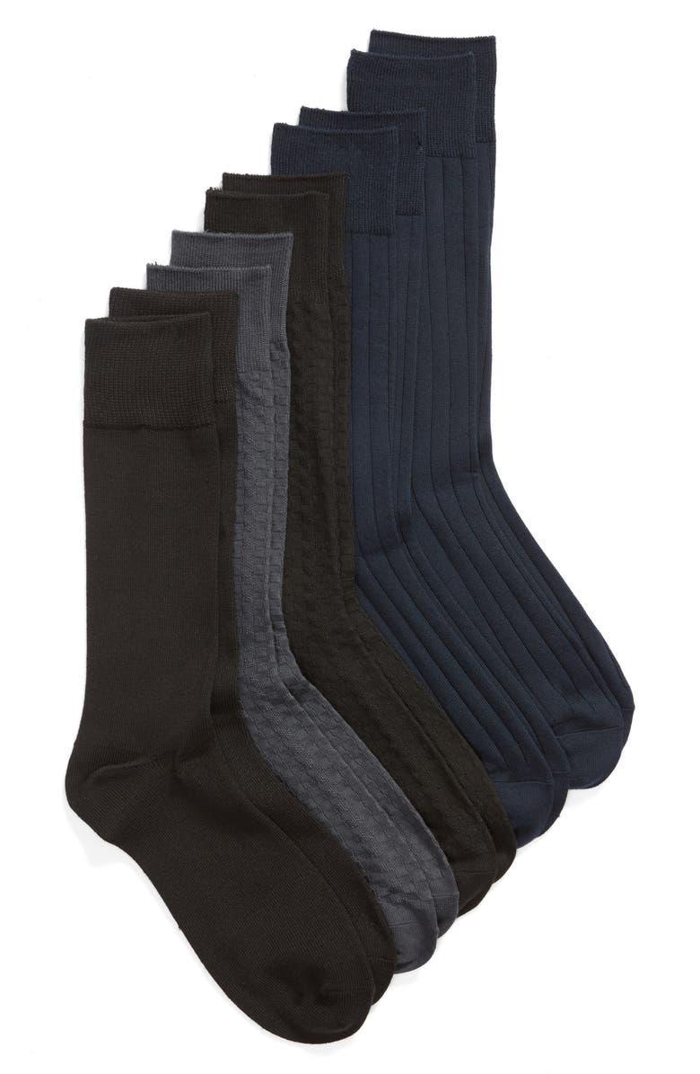 NORDSTROM MEN'S SHOP 5-Pack Ultra Soft Socks, Main, color, BLACK/ CHARCOAL/ NAVY