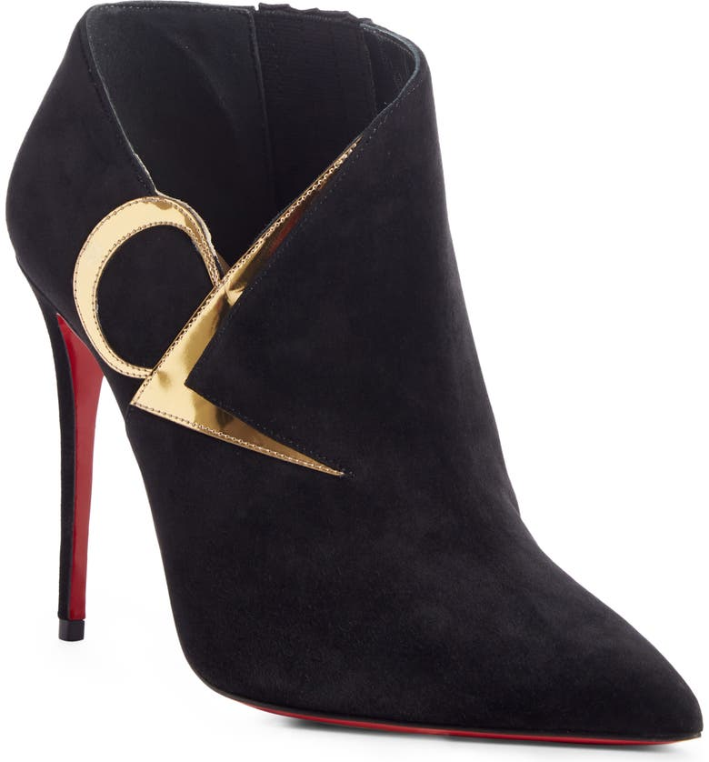 CHRISTIAN LOUBOUTIN CL Logo Pointed Toe Bootie, Main, color, 012