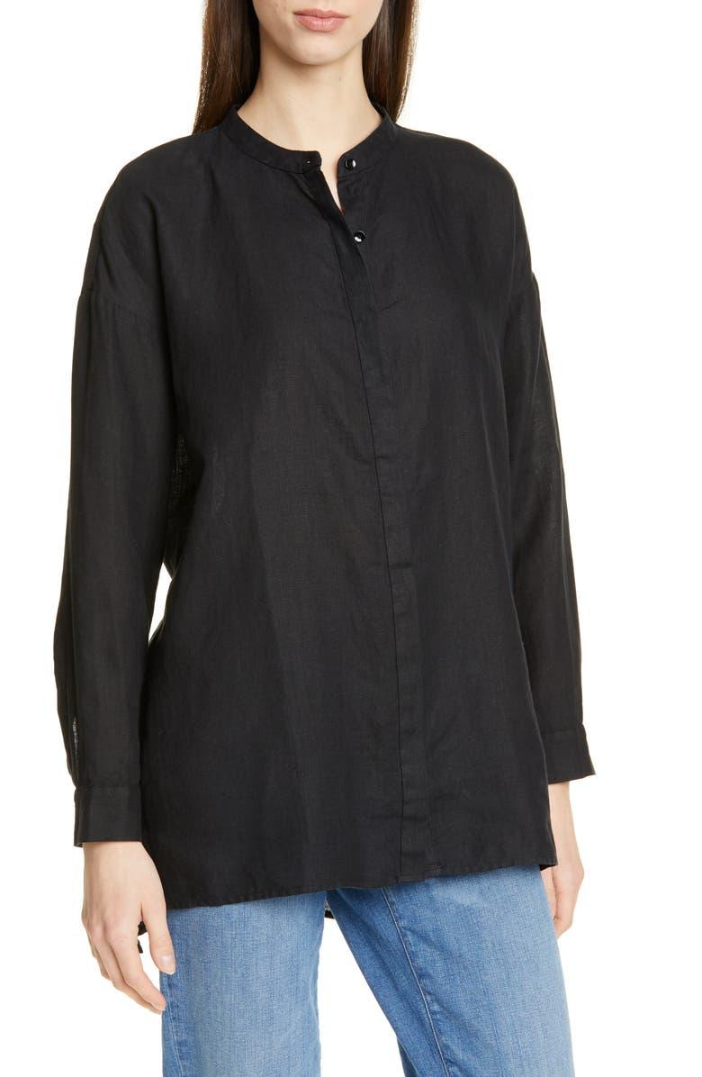 EILEEN FISHER Organic Linen Tunic Shirt, Main, color, 001