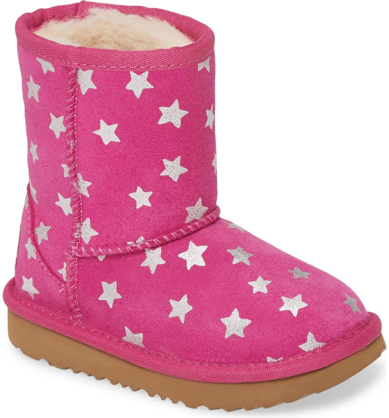 UGG<SUP>®</SUP> Classic Short II Water Resistant Stars Boot, Main, color, FUCHSIA