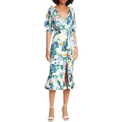 Saloni Olivia Silk Midi Dress