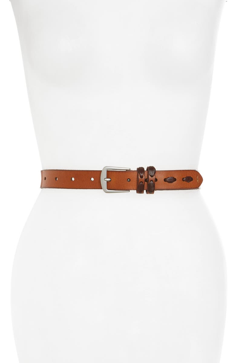 FRYE Laced Leather Belt, Main, color, TAN/ TUMBLED NICKEL