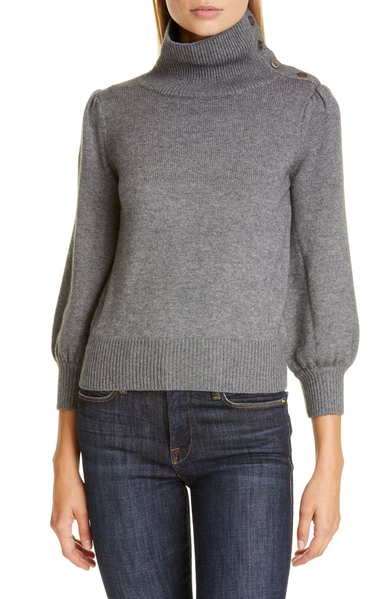 CO Button Detail Wool & Cashmere Sweater, Main, color, GREY