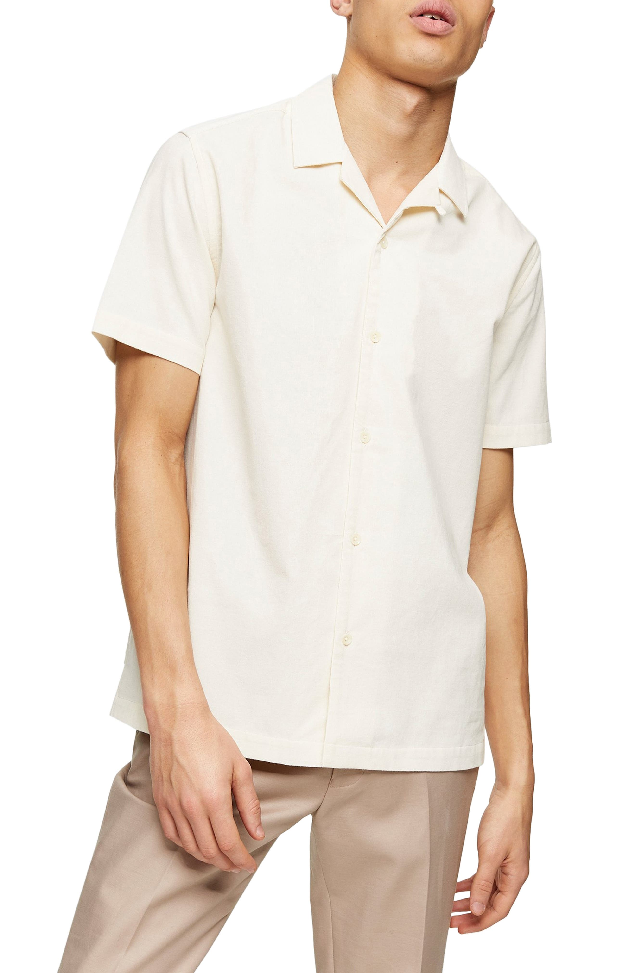 Mens Vintage Shirts – Retro Shirts Mens Topman Short Sleeve Button-Up Corduroy Camp Shirt $23.40 AT vintagedancer.com