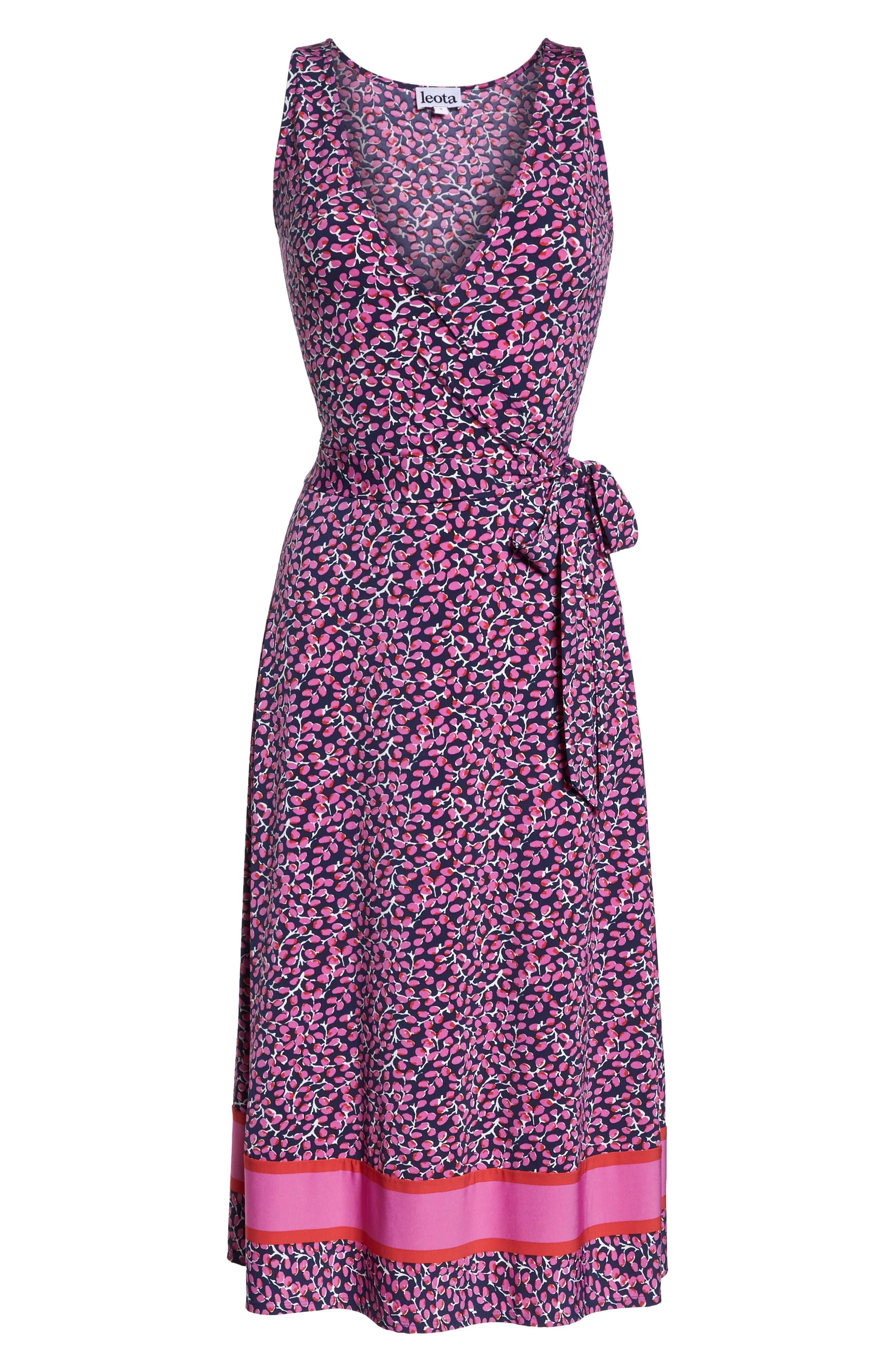 ,                             Justine Border Print Wrap Dress,                             Alternate thumbnail 13, color,                             665