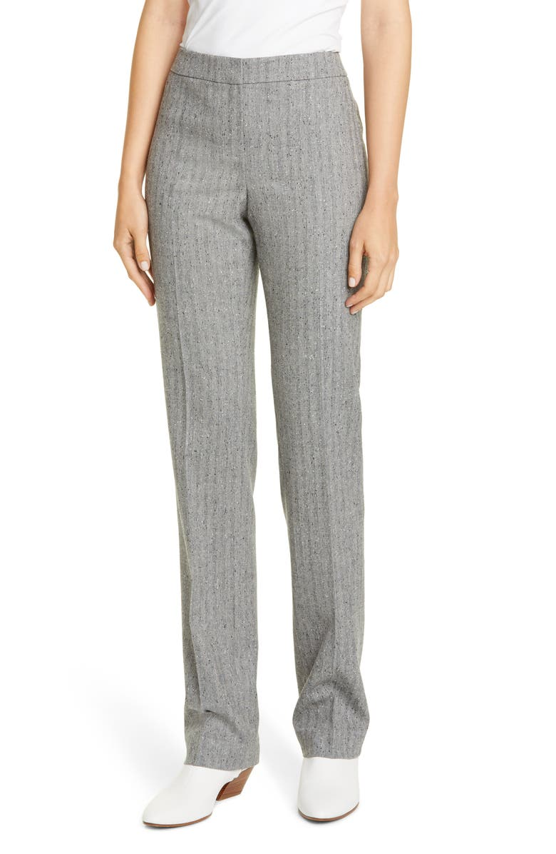 LAFAYETTE 148 NEW YORK Barrow Wool Blend Herringbone Pants, Main, color, BLACK MULTI