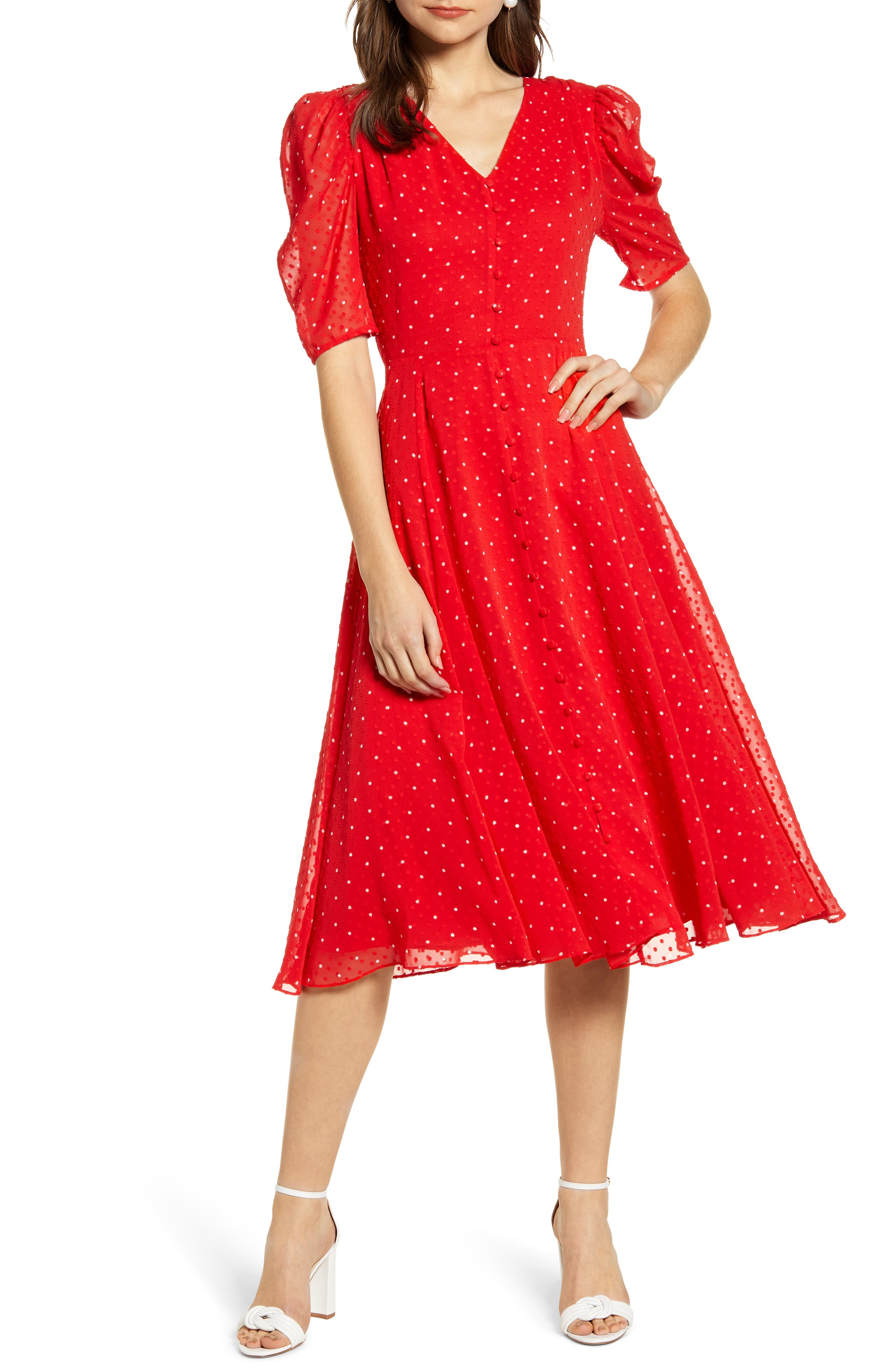 ,                             Chiffon A-Line Dress,                             Main thumbnail 1, color,                             RED CHINOISE DOT