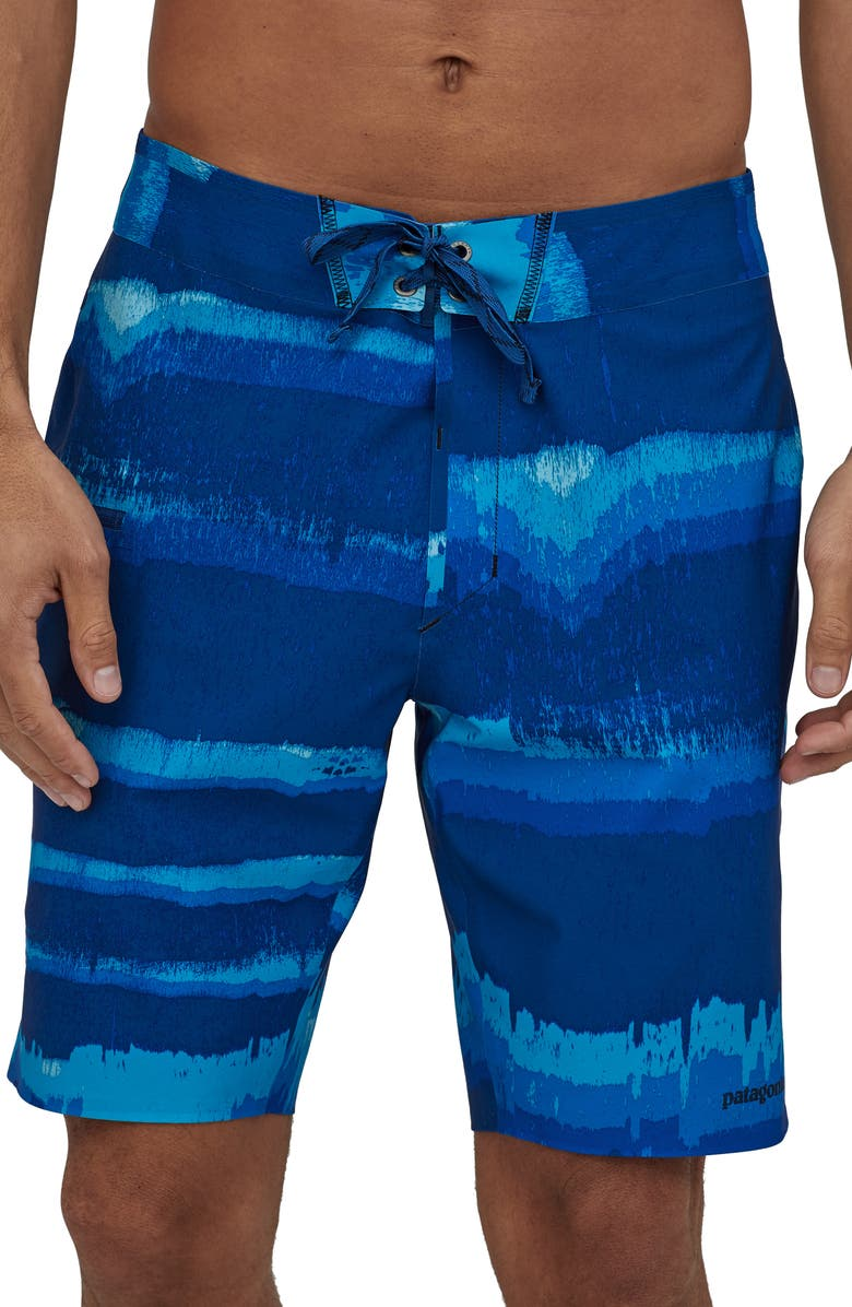 PATAGONIA Stretch Hydroflow Board Shorts, Main, color, WATER REFLECT/ SUPERIOR BLUE