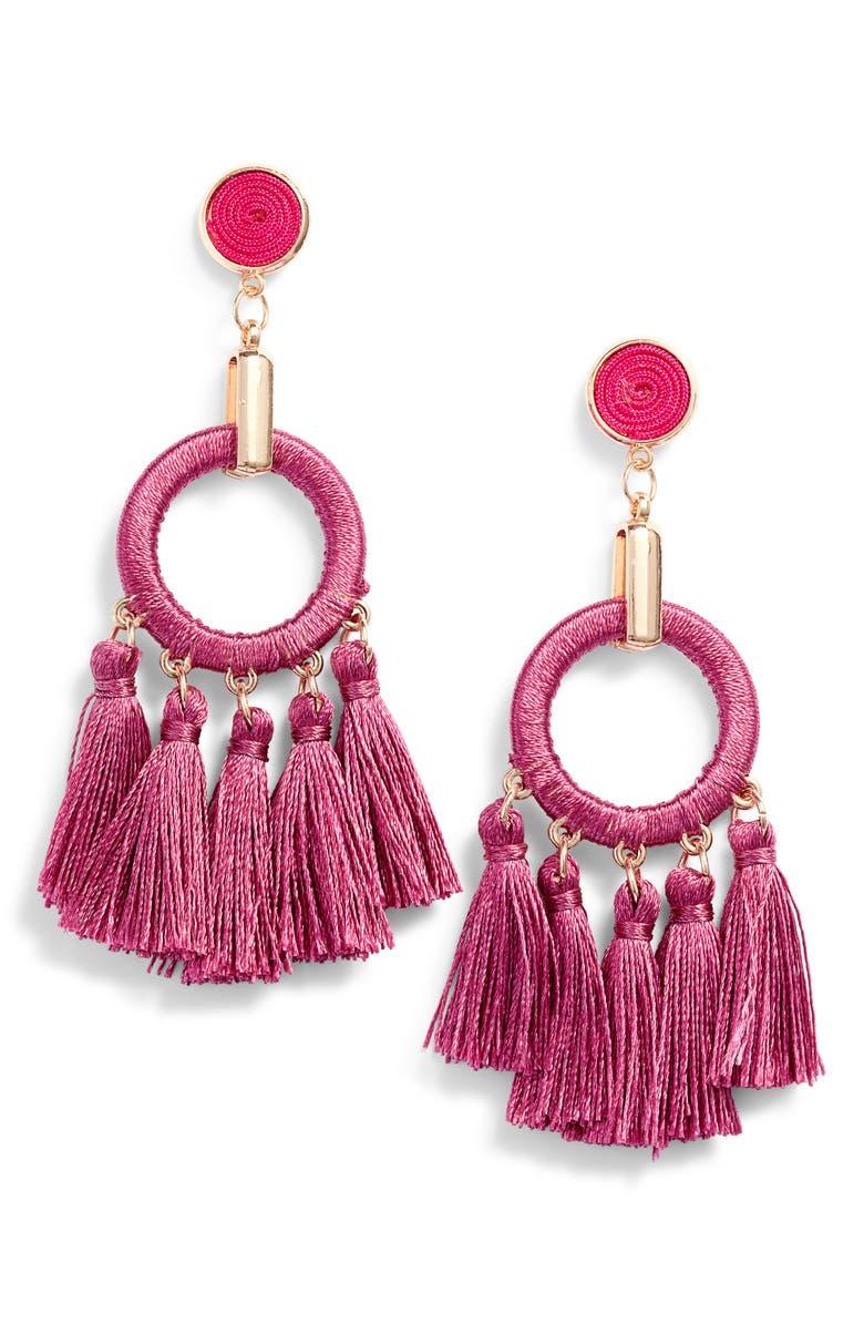 KNOTTY Multi Tassel Drop Earrings, Main, color, PINK