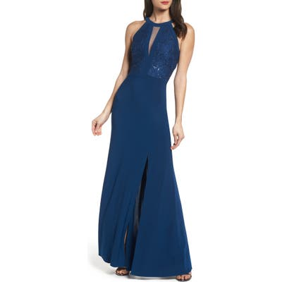 Morgan & Co. Lace & Jersey Gown, /4 - Blue