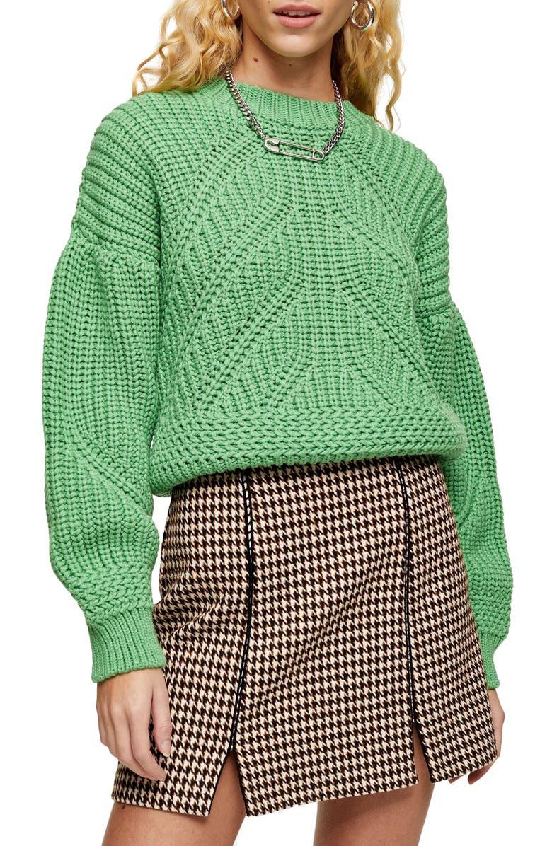 TOPSHOP Balloon Sleeve Sweater, Main, color, GREEN