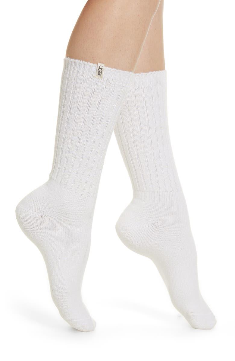 UGG<SUP>®</SUP> Ribbed Crew Socks, Main, color, 105