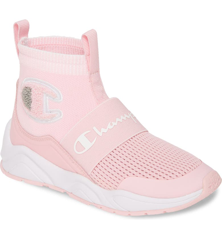 CHAMPION Rally Pro High Top Sock Sneaker, Main, color, PINK CANDY/ SILVERSTONE