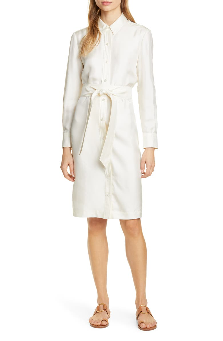 TORY BURCH Silk Shirtdress, Main, color, NEW IVORY