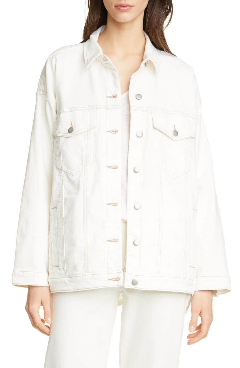 EILEEN FISHER Classic Collar Organic Cotton Denim Jacket, Main, color, 121