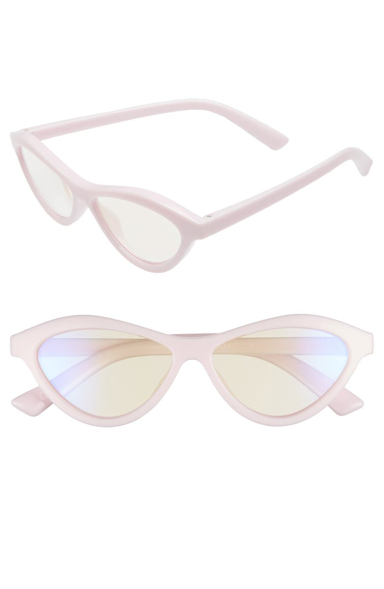 THE BOOK CLUB The Bookclub Fifty Fails a Day 54mm Blue Light Blocking Reading Glasses, Main, color, POWDER PINK