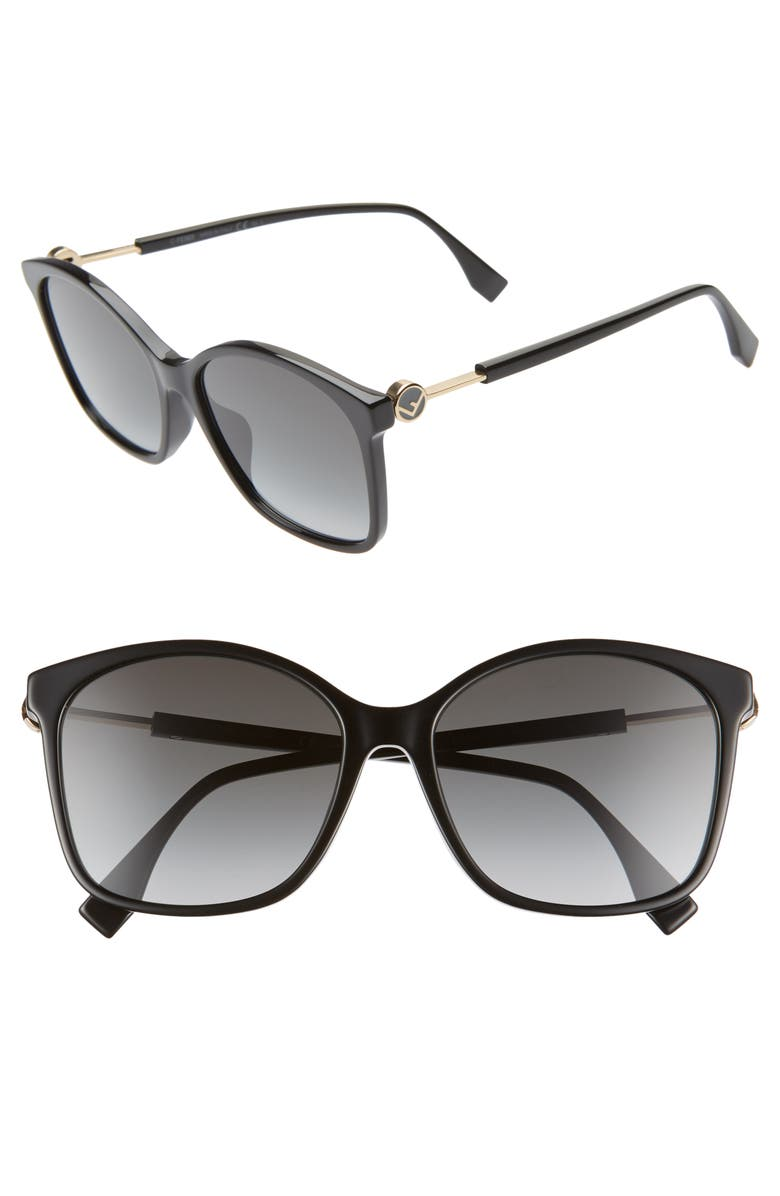 FENDI 57mm Special Fit Sunglasses, Main, color, 001