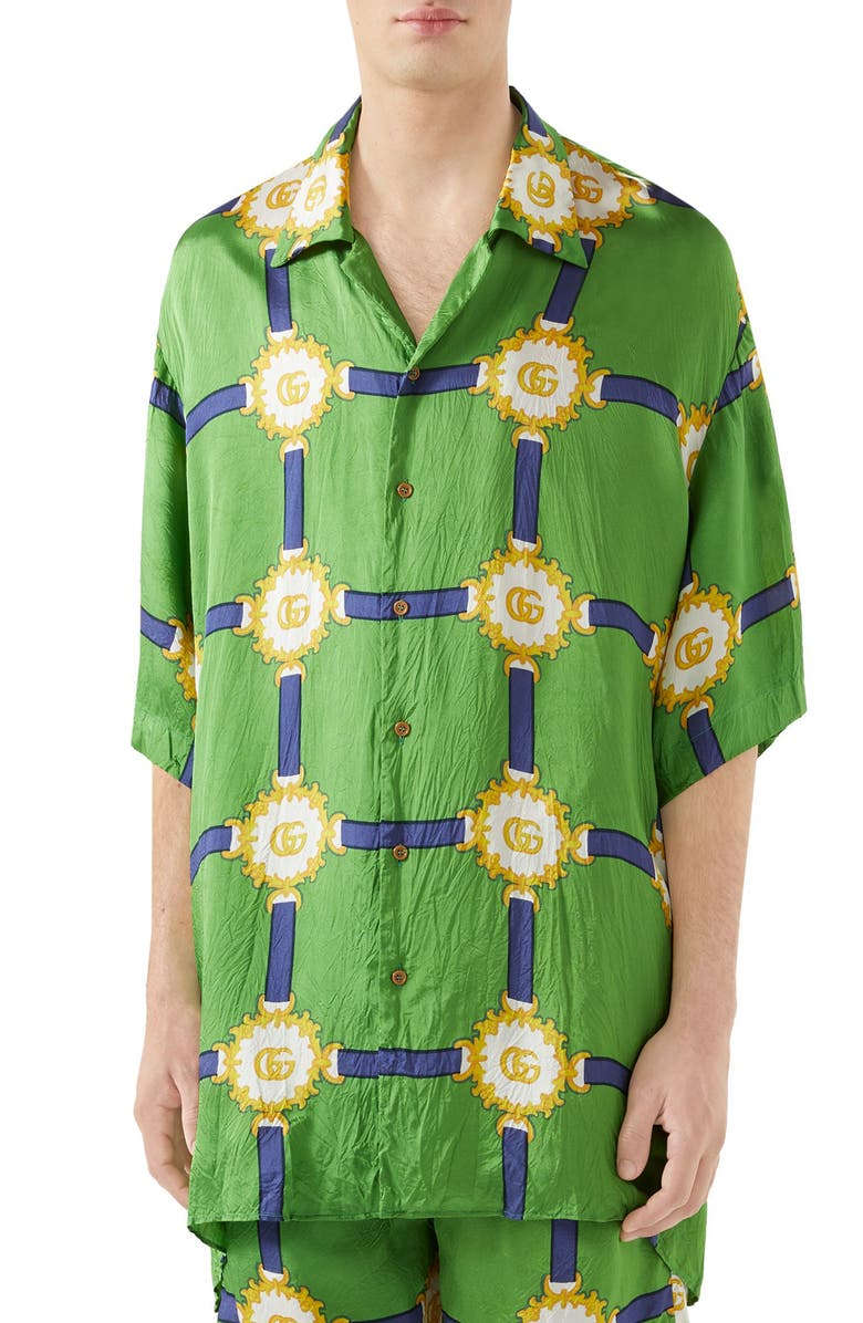 GUCCI GG Harness Print Bowling Shirt, Main, color, SHAMROCK/BLUE PRINT