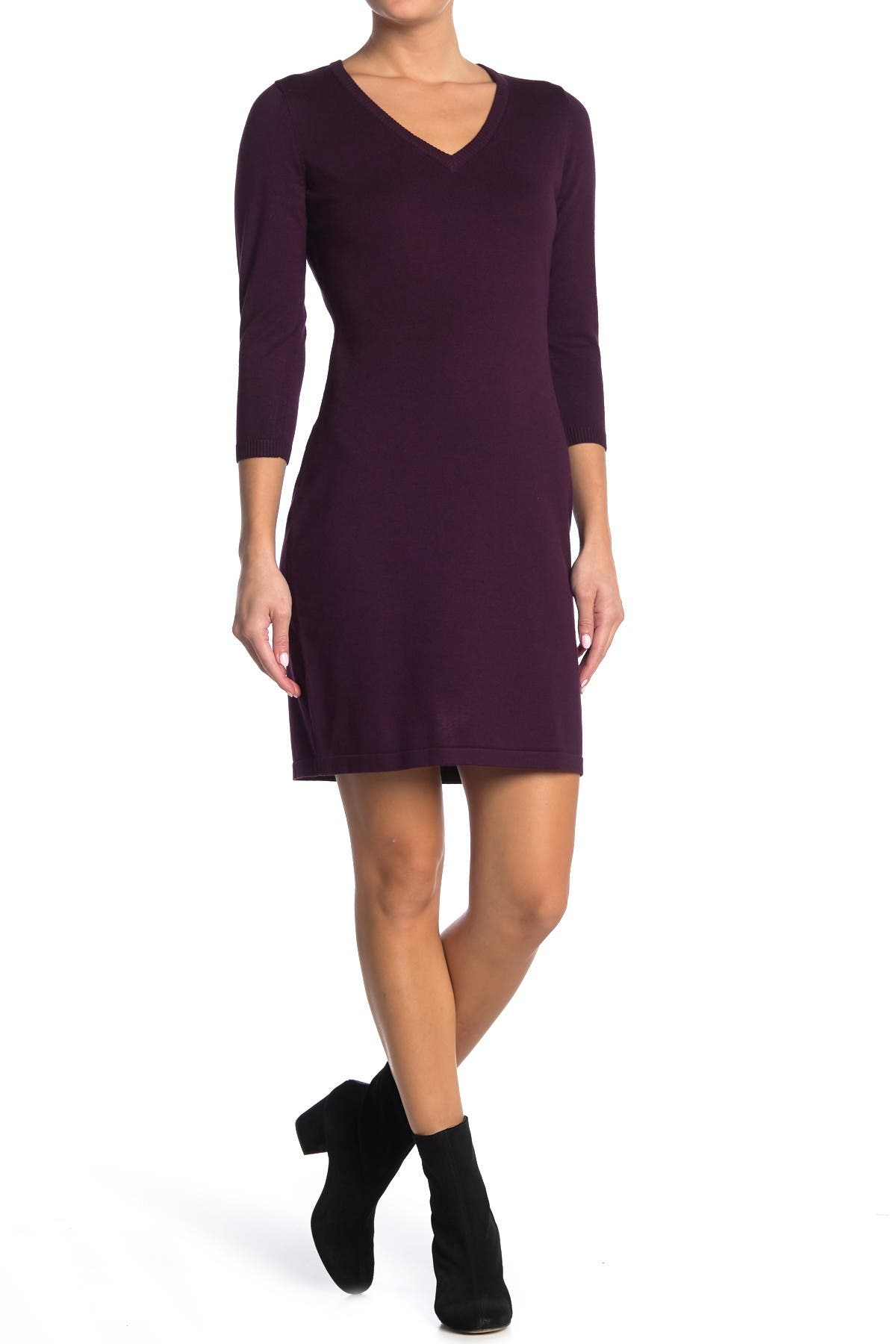 Image of Calvin Klein 3/4 Length Sleeve Sweater Dress