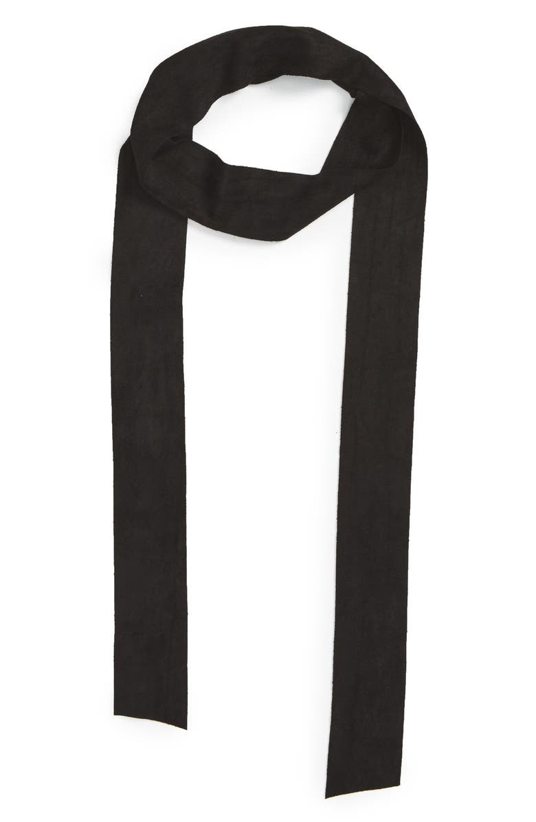BP. Faux Suede Skinny Scarf, Main, color, 001