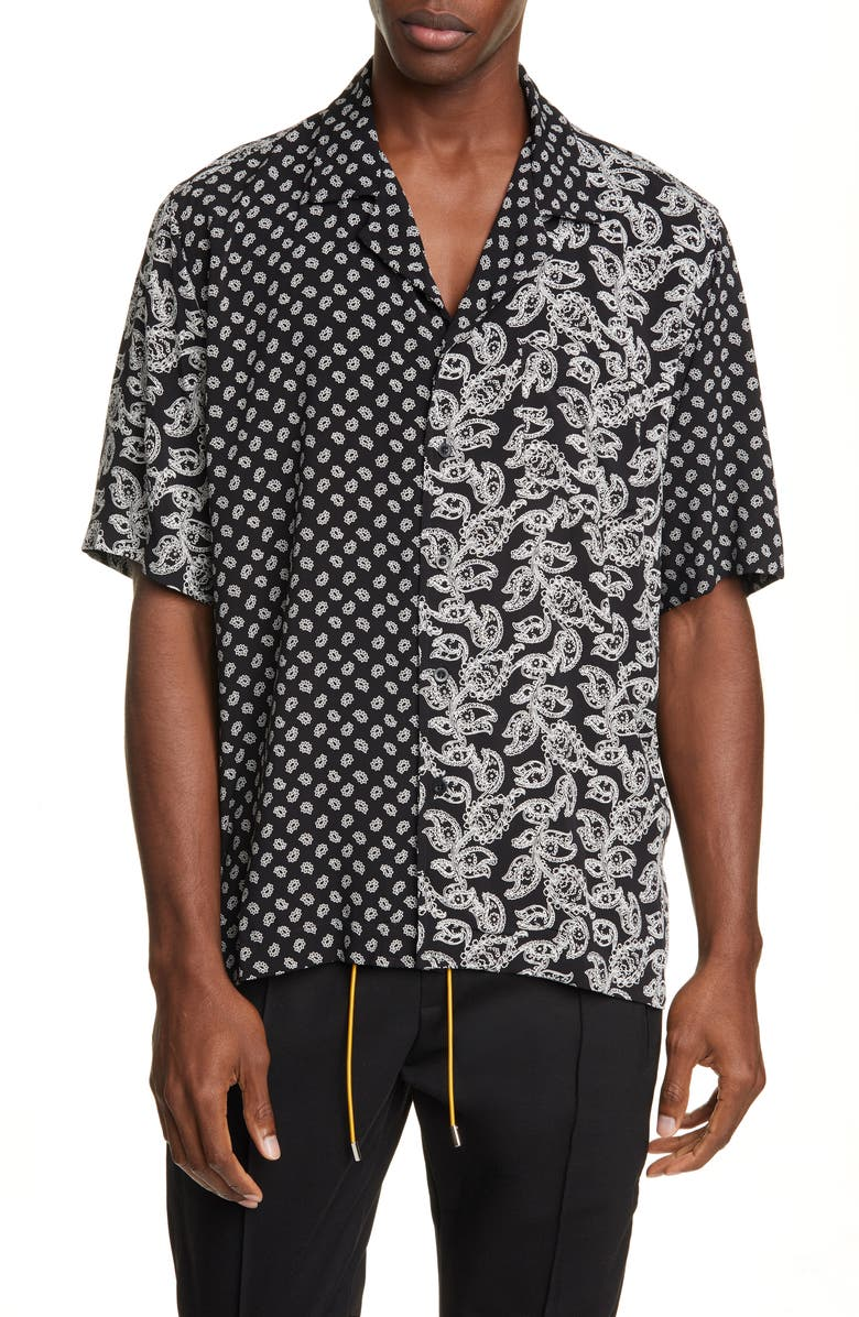 RHUDE Bandana Panel Short Sleeve Button-Up Camp Shirt, Main, color, BLACK