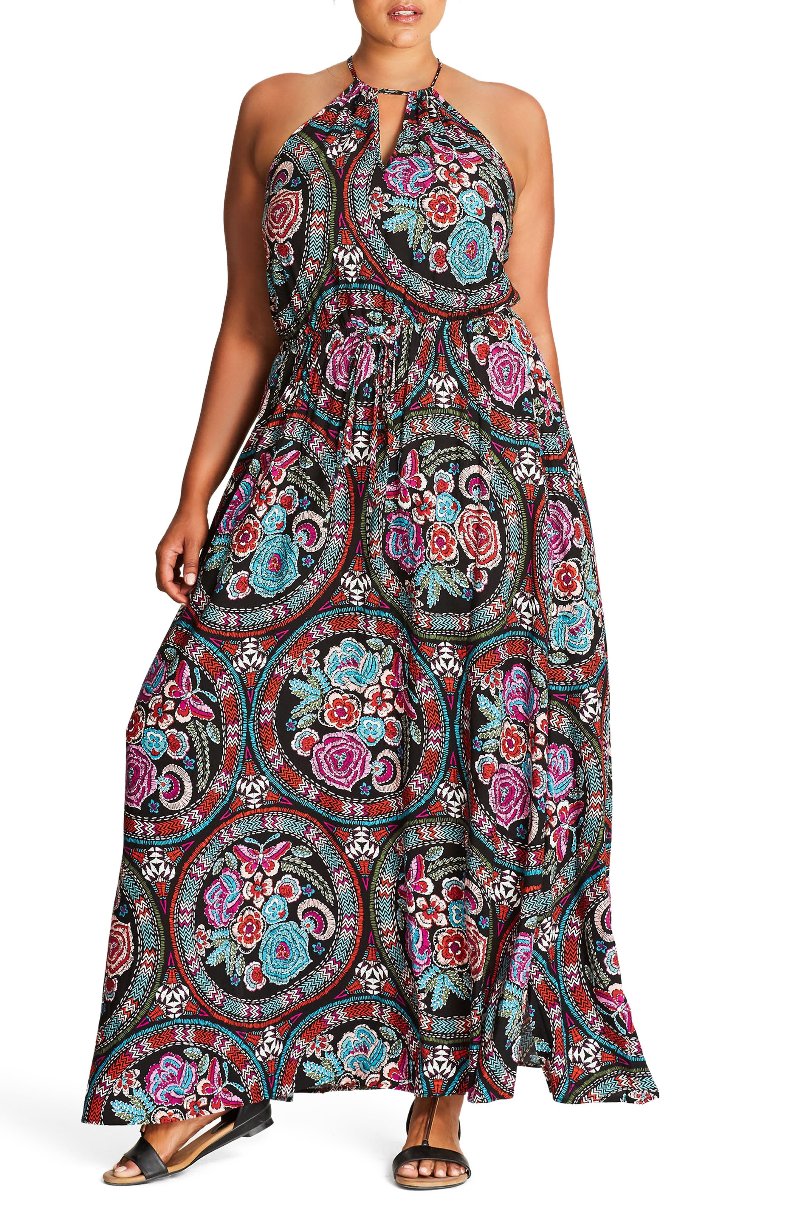 60s 70s Plus Size Dresses, Clothing, Costumes Plus Size Womens City Chic Folklore Maxi Dress $89.00 AT vintagedancer.com