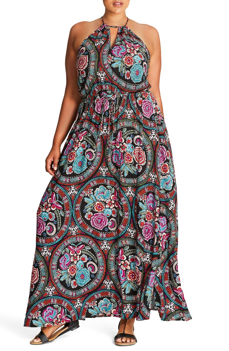 CITY CHIC Folklore Maxi Dress, Main, color, 001