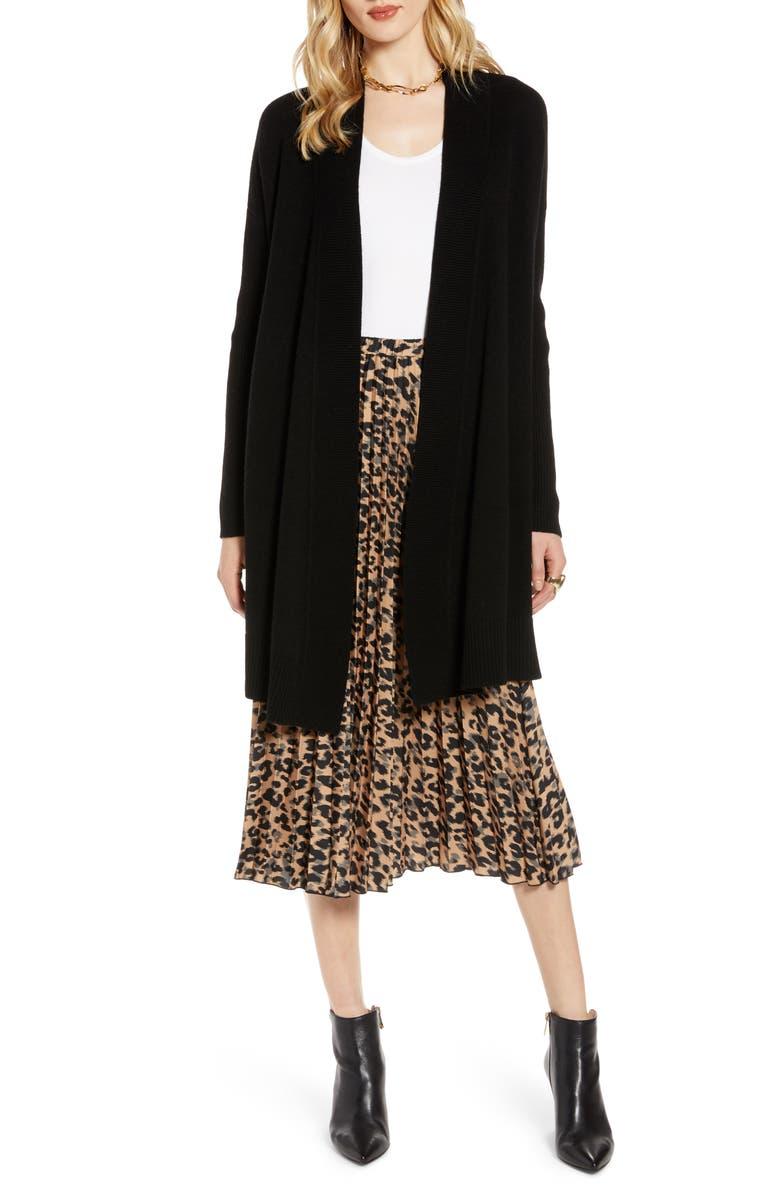 HALOGEN<SUP>®</SUP> Wool & Cashmere Drape Front Long Cardigan, Main, color, BLACK
