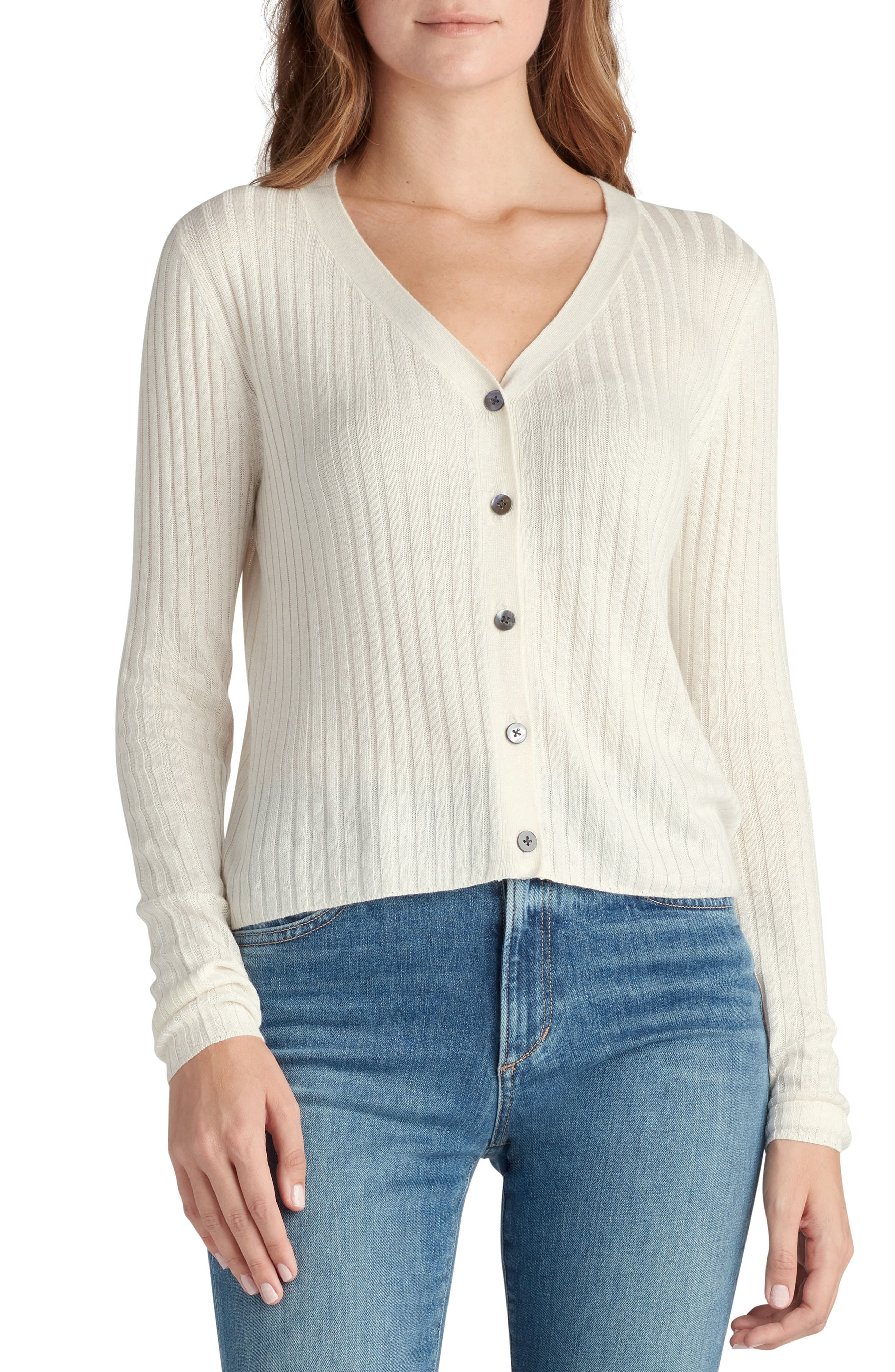 A ribbed cardigan knit from a linen-kissed yarn blend is the perfect lightweight layer for those between-season days. Style Name: Joe\\\'s The Favorite Daughter Button-Up Cardigan. Style Number: 6135566. Available in stores.