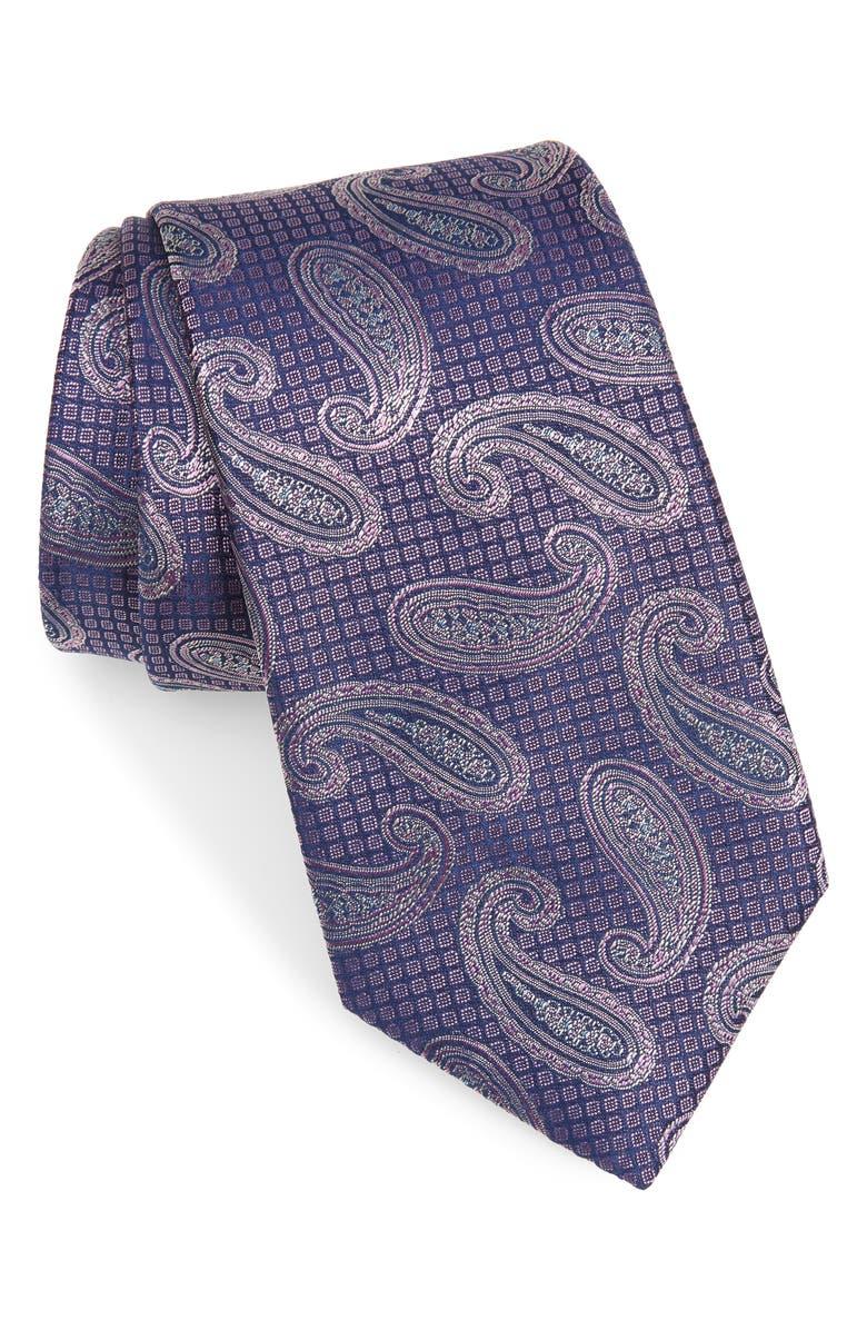 CANALI Paisley Silk Tie, Main, color, PINK