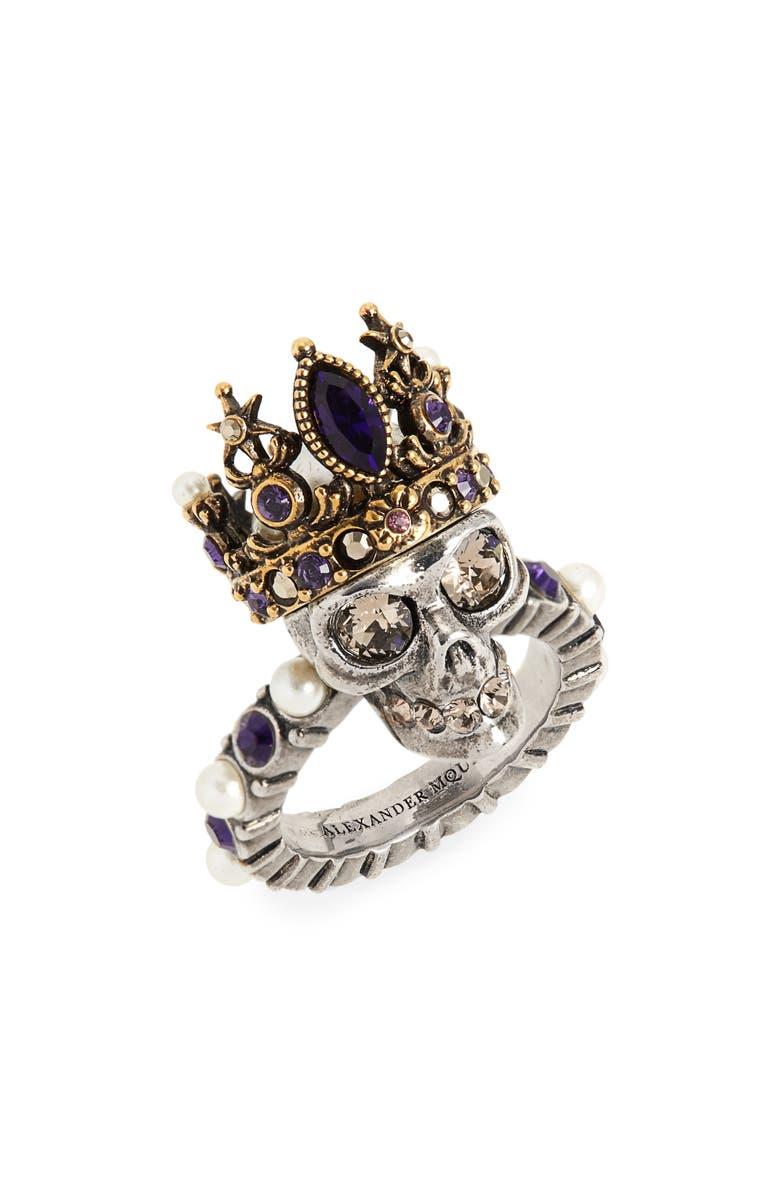 ALEXANDER MCQUEEN Skull Queen Ring, Main, color, BLACK/ GOLD
