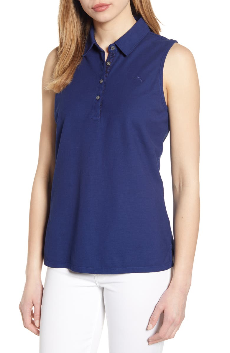 TOMMY BAHAMA Flora Dei Marmi Sleeveless Cotton Polo, Main, color, ISLAND NAVY