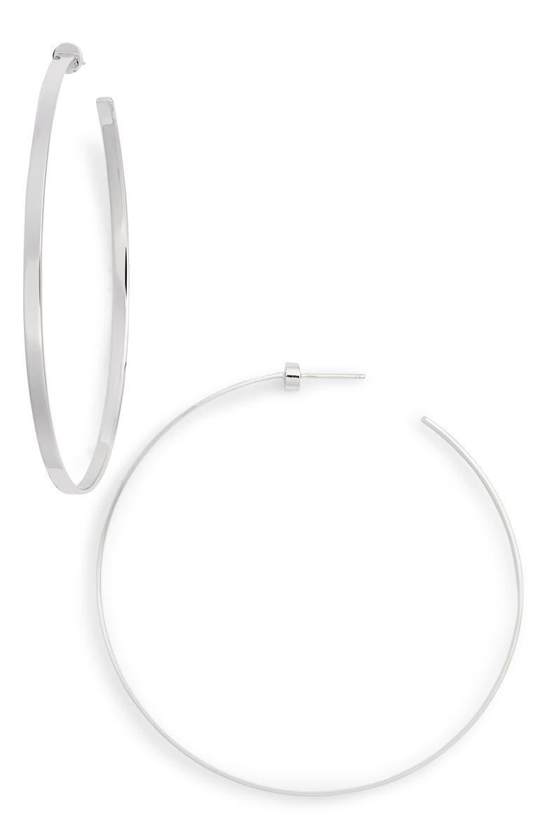 JENNIFER ZEUNER Hoop Earrings, Main, color, STERLING SILVER