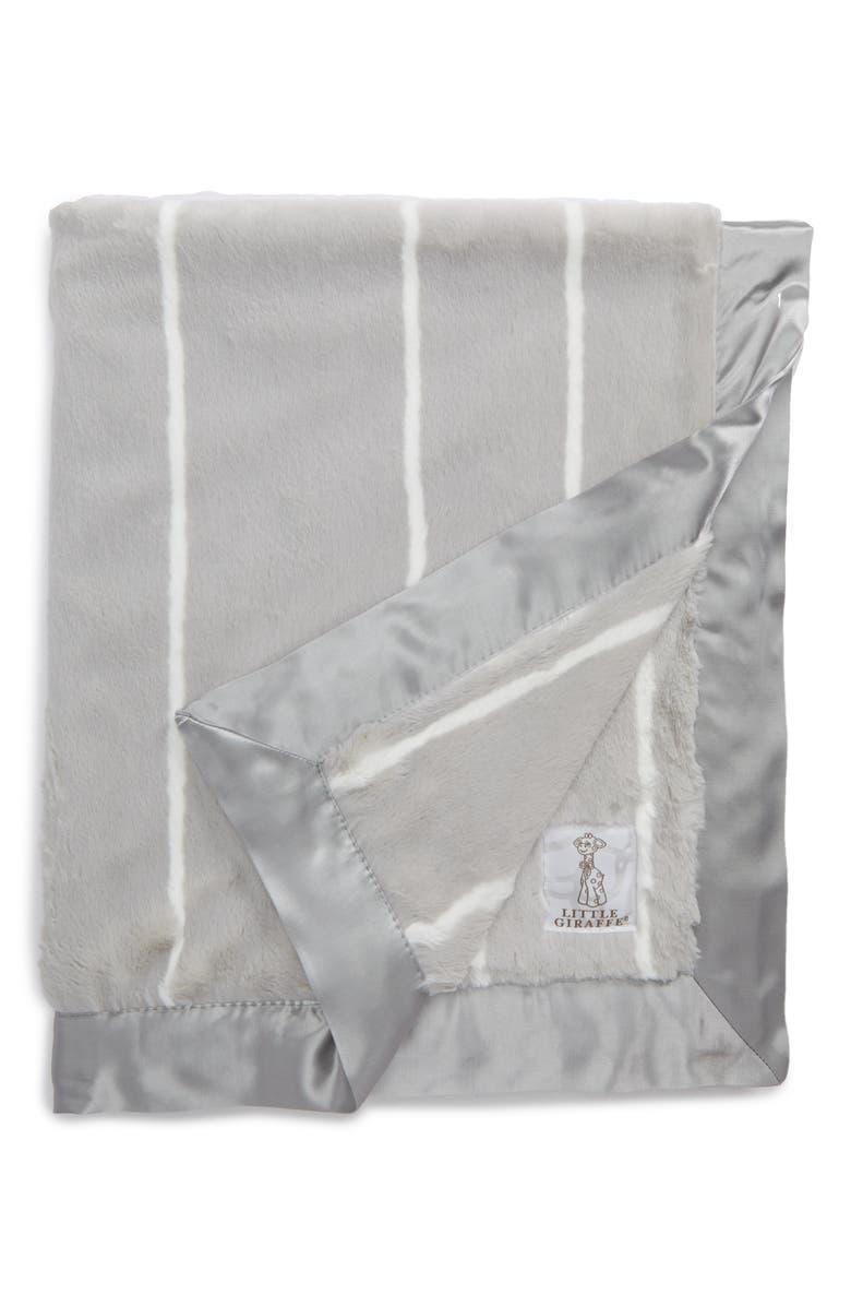 LITTLE GIRAFFE Pinstripe Luxe Blanket, Main, color, SILVER