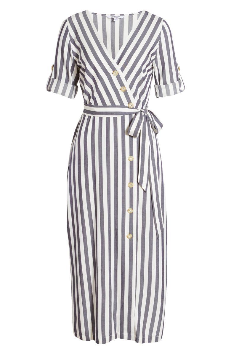 BB DAKOTA Set Sail Stripe Midi Dress, Main, color, 410