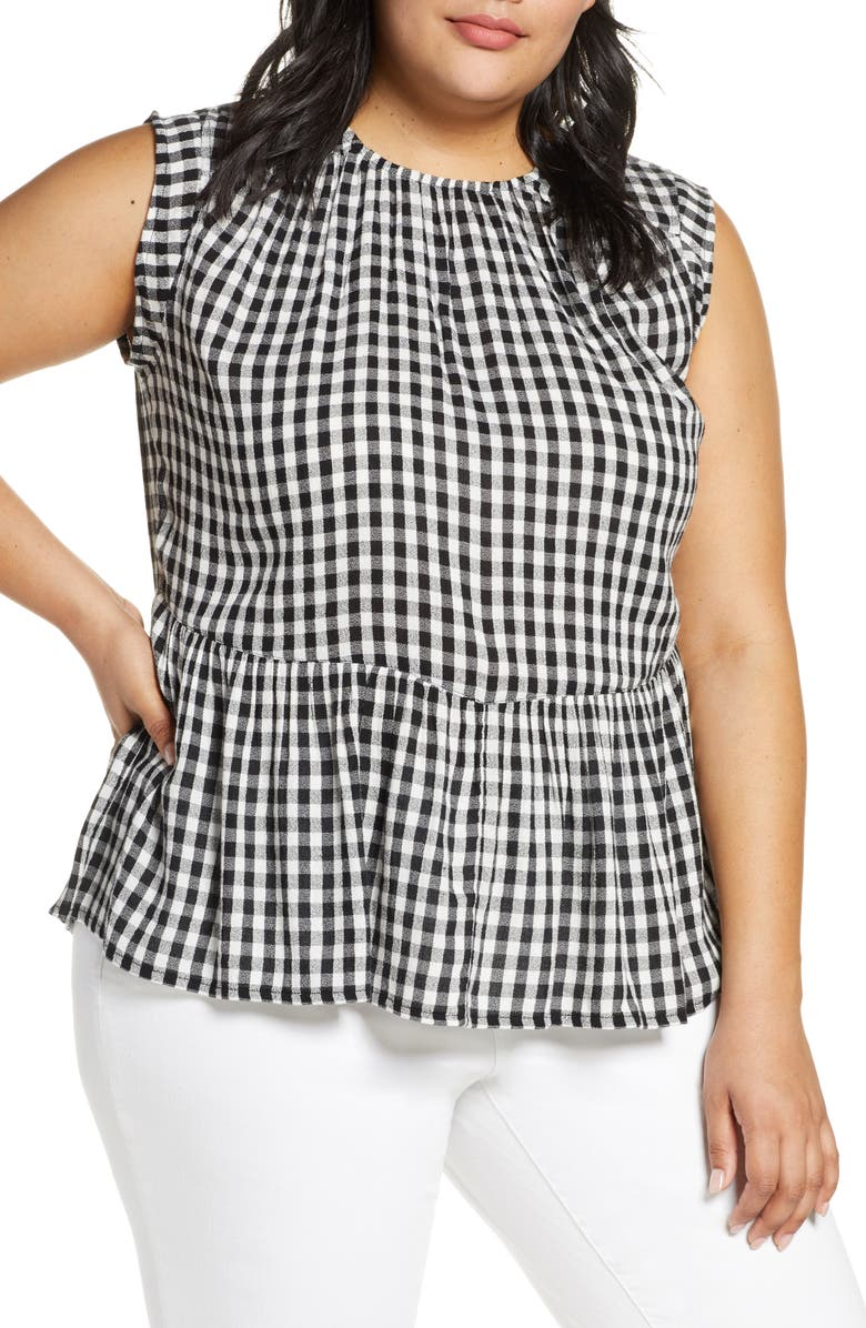CASLON<SUP>®</SUP> Flutter Hem Woven Tank, Main, color, BLACK WHITE CHAMBRAY PLAID