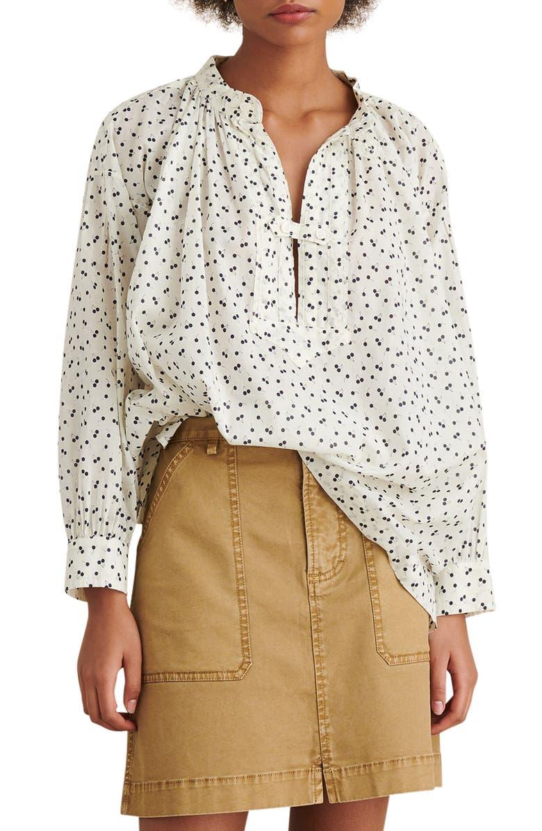 ALEX MILL Stevie Swiss Dot Tunic Shirt, Main, color, WHITE/ BLACK