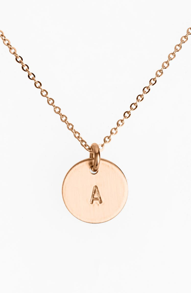 NASHELLE 14k-Rose Gold Fill Initial Mini Disc Necklace, Main, color, 14K ROSE GOLD FILL A