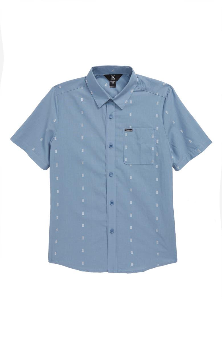 VOLCOM Newmark Woven Cotton Shirt, Main, color, FLIGHT BLUE