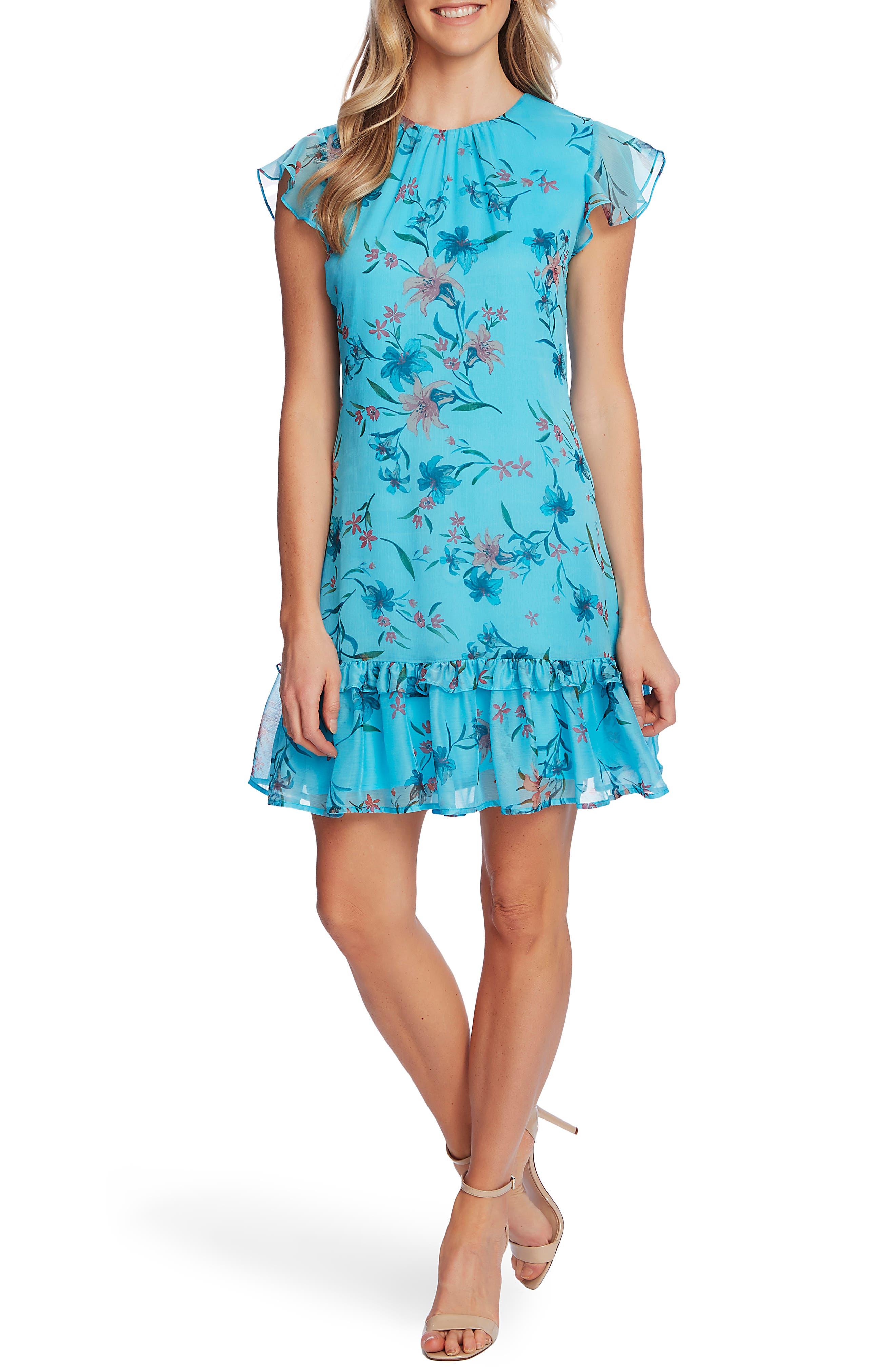 Expresive Lillies Flutter Sleeve Dress